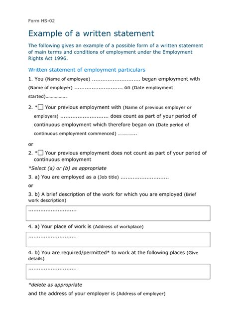 statement of employment template written statement template form hs 02 uk in word and