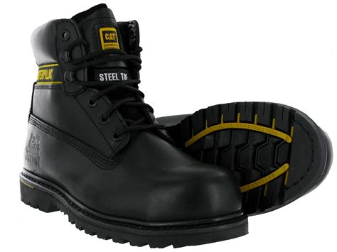 Caterpillar Holton Black Boot Safety Steel Toe Adventure Lapangan mens cat caterpillar holton leather steel toe cap safety