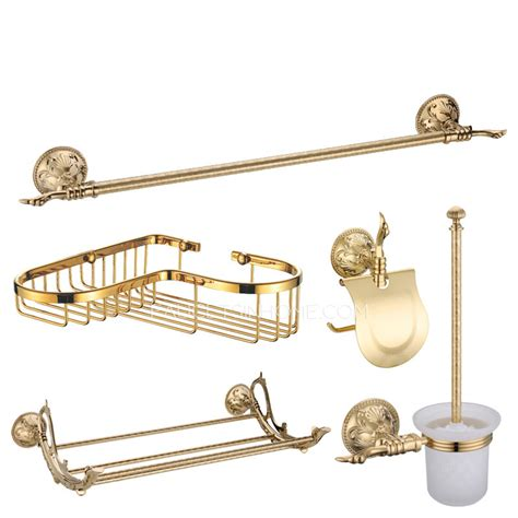 shiny gold brass vintage 5 bathroom accessory sets