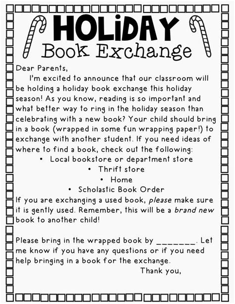 holiday book exchange letter don t know if we could do