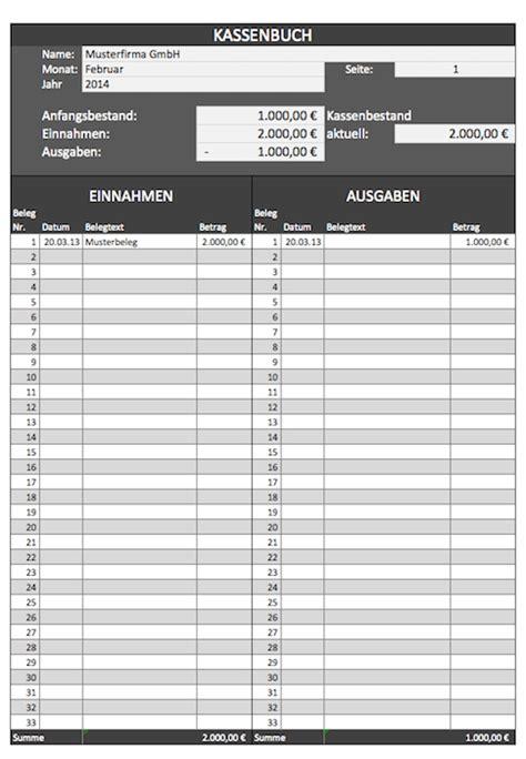 Kostenlose Vorlage Kassenbuch Kassenbuch Vorlagen Gratis F 252 R Microsoft Excel Und Als Pdf
