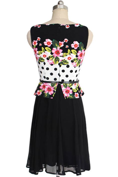 tomcarry womens flower printing sleeves chiffon dress