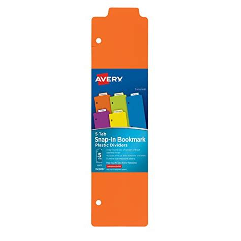 Avery Bookmark Template by Avery Snap In Plastic Bookmark Dividers 5 Tabs 1 Set Multicolor 24908 Association For