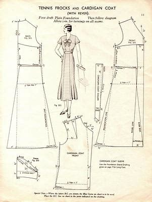 vintage pattern drafting free vintage tennis frock dress and cardigan coat sewing