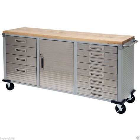Rolling Storage Cabinet Garage Rolling Metal Steel Tool Box Storage Cabinet Wooden Workbench 12 Drawers Tool Storage
