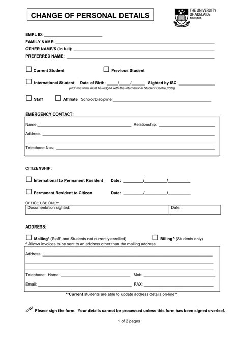 personal particulars form template pin personal information form sle on