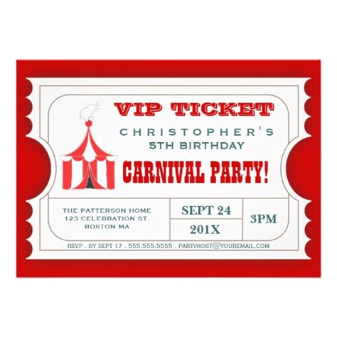 ticket invitation templates circus carnival birthday ticket invitation 5 quot x 7