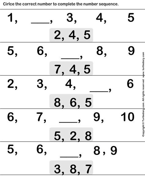 pattern sequence for kindergarten 11 best images of math worksheets ordinal numbers