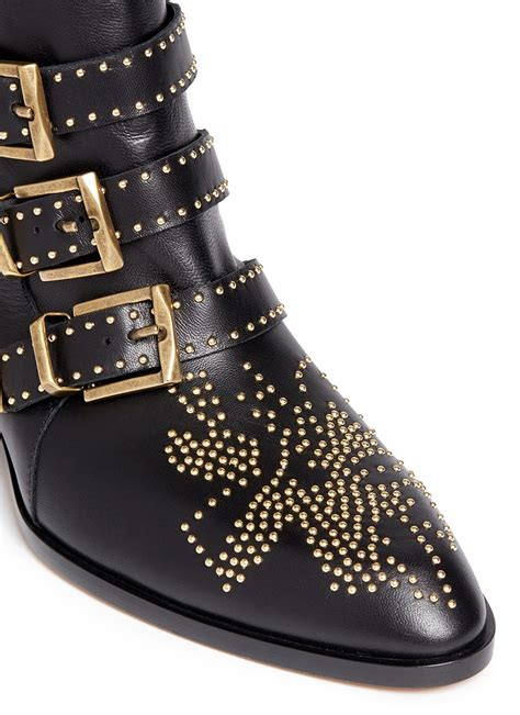 chlo 201 susanna studded buckled leather ankle boots
