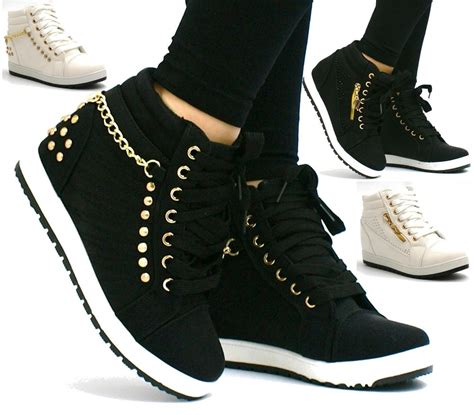 sneakers with high heels womens mid heel wedge platform lace up high top