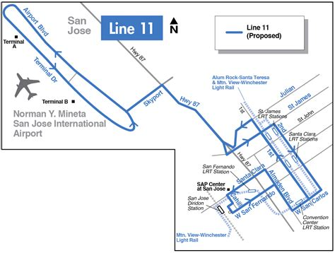 san jose trolley map proposed line 11 map for 2016 2017 transit service plan