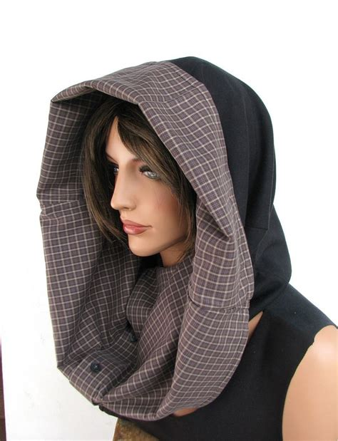 hooded hijab pattern cowl hood hooded cowl upcycled clothing by