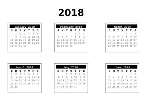 Calendar 2018 6 Months 6 Months 01 2018
