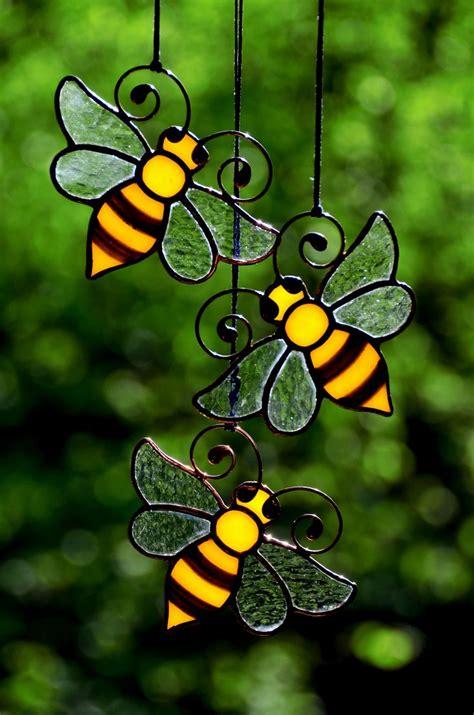 honey bee stained glass decor bee suncatcher garden