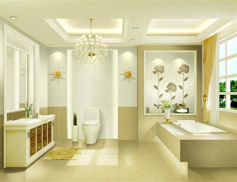 enchanting modern bathroom with chandelier and