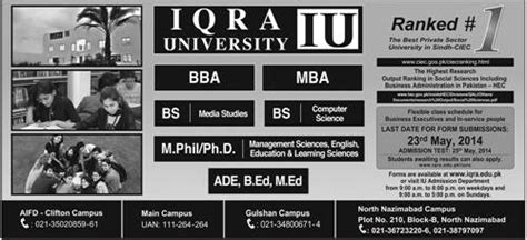 Mba In Iqra In Karachi by Admissions In Iqra Iu Karachi For Bba Mba