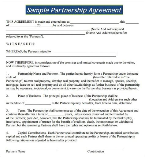 profit agreement template profit agreement template free 18 best partnership