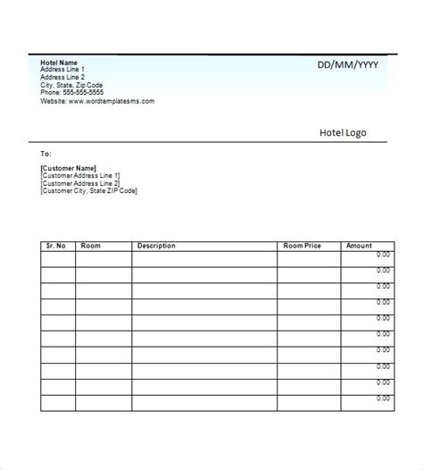 Bill Receipt Template Excel by Accommodation Receipt Template Kinoroom Club