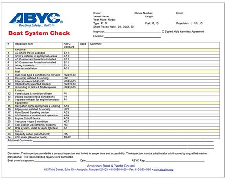 Example Boat System Checklist   American Boat and Yacht