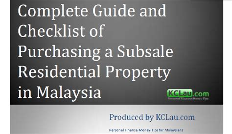 complete guide  checklist  purchasing  subsale residential property  malaysia kclaucom