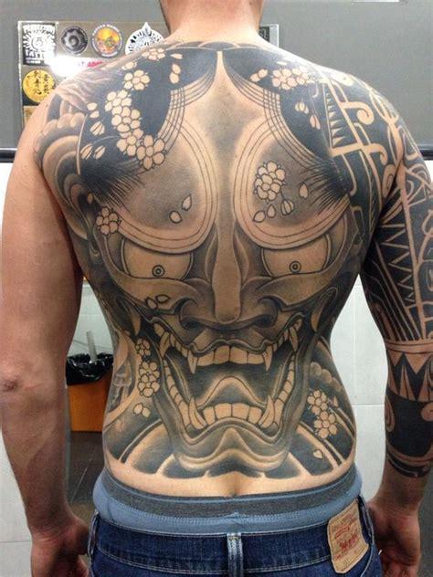 japanese hannya mask back tattoo hannya black and grey back piece by jose gonzalez tattoonow