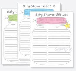 Printable Baby Shower Gift List Template Baby Shower Guest Gift List Printable Diy Mason Jar Design