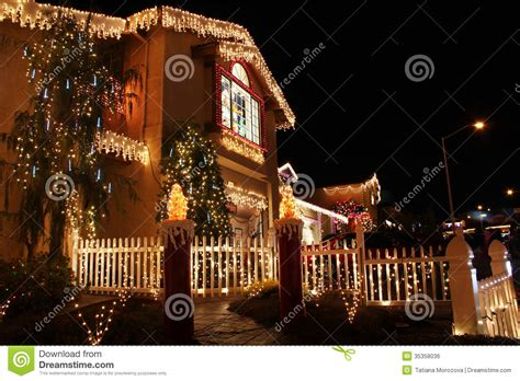 decorated house with christmas lights stock photo image