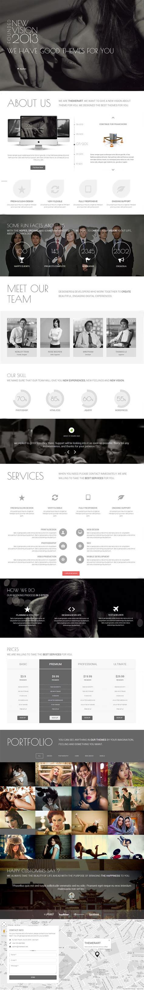 single page parallax template responsive html5 templates for modern websites html5