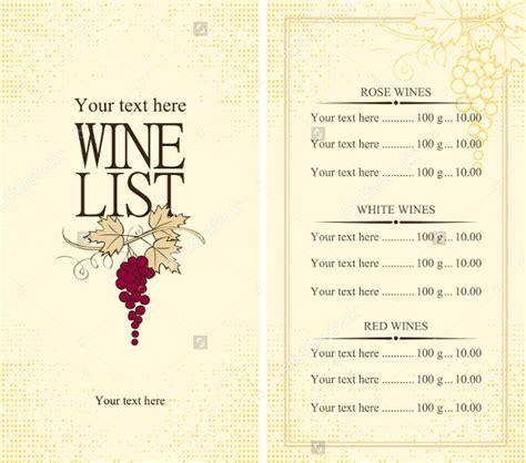 wine list template free 26 wine menu templates free sle exle format