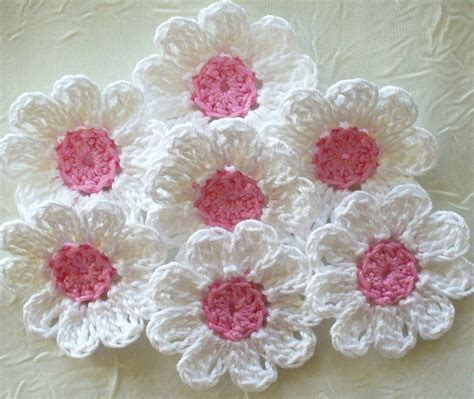 Handmade Crochet Flowers - reserved for diane pretty in pink handmade crochet flowers