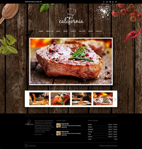 template restaurant california restaurant hotel coffee bar website by