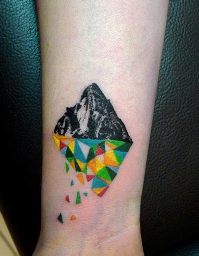 geometric pattern wrist tattoo geometric colorfrul mountain tattoo