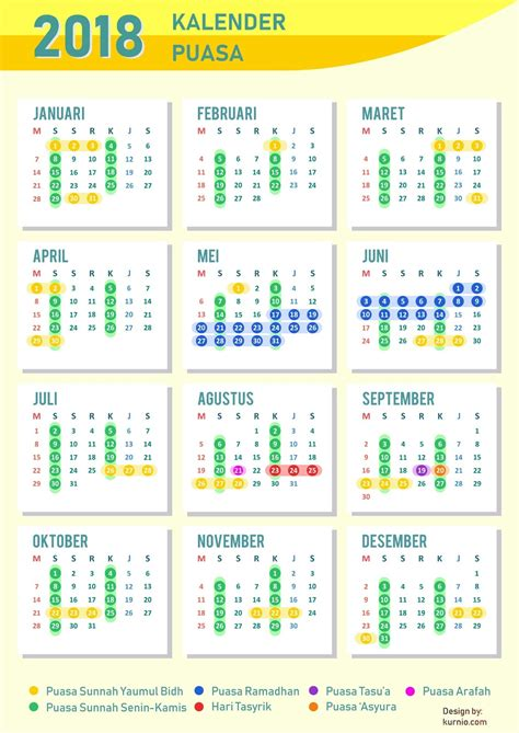Calendar 2018 Malaysia Puasa Kalender Puasa Sunnah 2018 Yuk Amalkan Kurnio Design