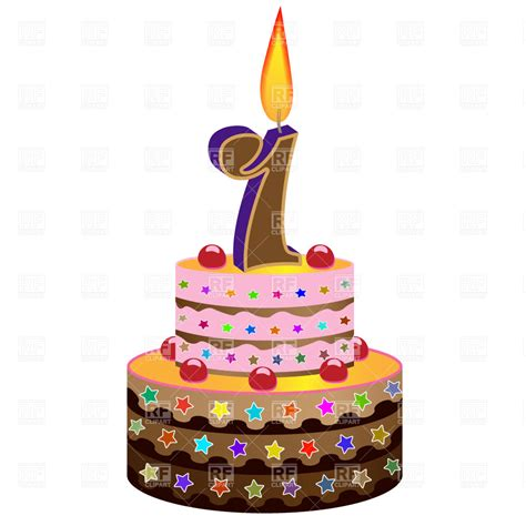 Birthday cake with candle Vector Image #2256 ? RFclipart