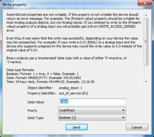 write to out of service property using cas bacnet explorer