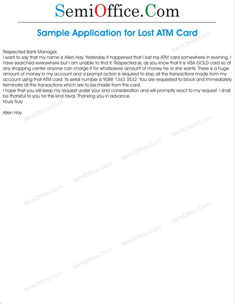 Credit Card Replacement Letter Format application for lost atm card for bank