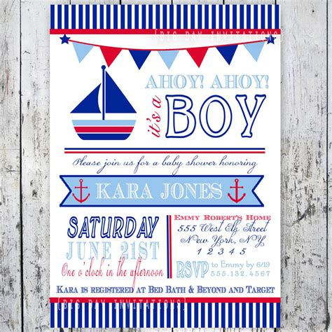 themed invitation template nautical theme baby shower invitations theruntime