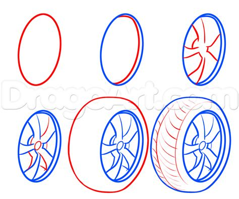 How To Draw Tires Step By Step Cars Draw Cars