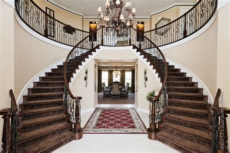 Custom Mansion Floor Plans double staircase in a moorpark country club estates home
