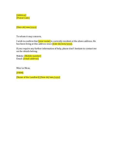 certification letter from landlord letter landlord