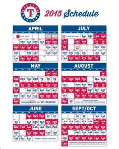 printable schedule texas rangers 1000 images about