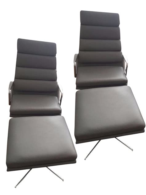 Eames Soft Pad Lounge Chair by Eames Soft Pad Lounge Chairs Ottomans A Pair Chairish