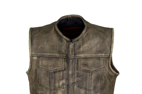 brown leather motorcycle men s distressed brown leather motorcycle club vest