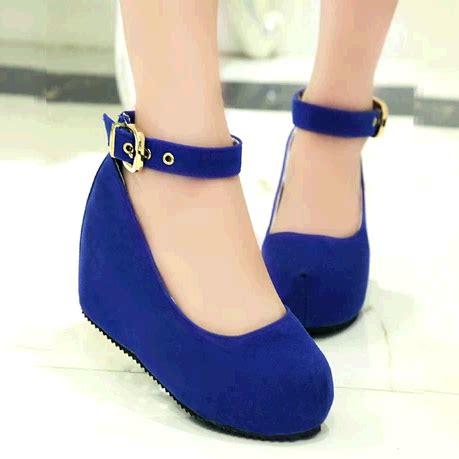 Wedges Wanita Heels vivi suede platform wedges blue shoes fashion malaysia retail dropship