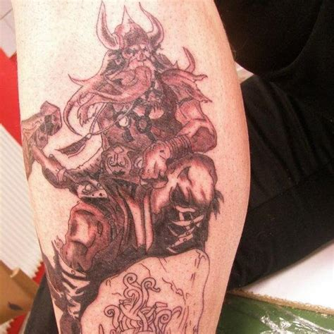 13 grey viking tattoos on leg