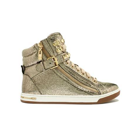 macy s shoes michael kors michael kors mk city sneaker in metallic lyst