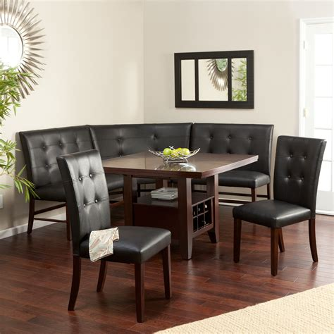 layton espresso 6 piece breakfast nook set dining table