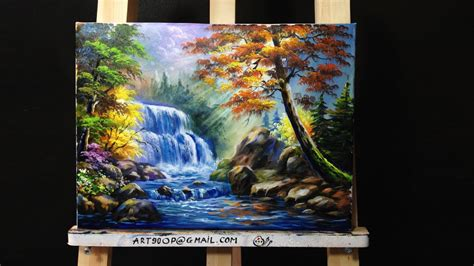 how to preserve acrylic paint on canvas waterfall acrylic painting lesson 1