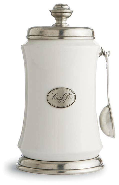 kitchen jars and canisters tuscan coffee canister with spoon traditional kitchen canisters and jars by arte italica