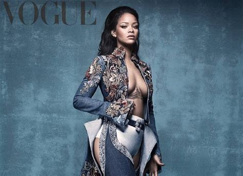 rihanna goes topless and flashes booty in v magazine says rihanna flashes major cleavage and booty in vogue photoshoot